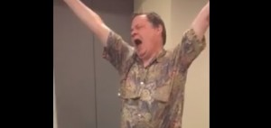 Bruce McIntosh dances for joy over expected changes to autism therapy policy in Ontario. Courtesy Facebook