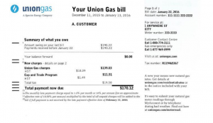 A mock-up of what a Union Gas bill would look like with a cap-and-trade charge included. (Submitted by Union Gas to the Ontario Energy Board)
