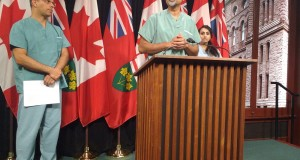 Dr. Sohail Gandhi speaks at a press conference about the tentative physician services agreement at Queen's Park on July 21, 2016. Jessica Smith Cross / QP Briefing