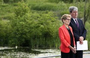 TORONTO, ON - JUNE 8  - Premier Kathleen Wynne and  Environment Minister and Climate Change, Glen Murray (R) during the unveiling of Ontario's Five Year Climate Action Plan at Evergreen Brick Works, Toronto, ON, June 8, 2016. Andrew Francis Wallace/Toronto Star