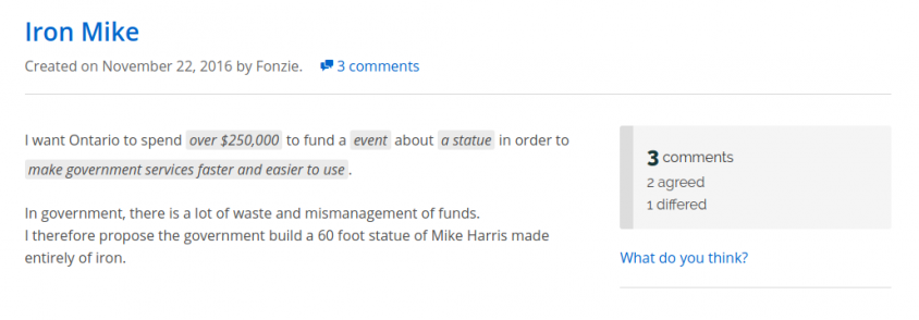 A 60-foot statue of Mike Harris, and more: Ontario voters make their prebudget pitches