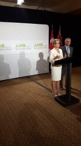 Premier Kathleen Wynne and Municipal Affairs Minister Bill Mauro speak to reporters at AMO's annual conference. (Geoff Zochodne/QP Briefing)