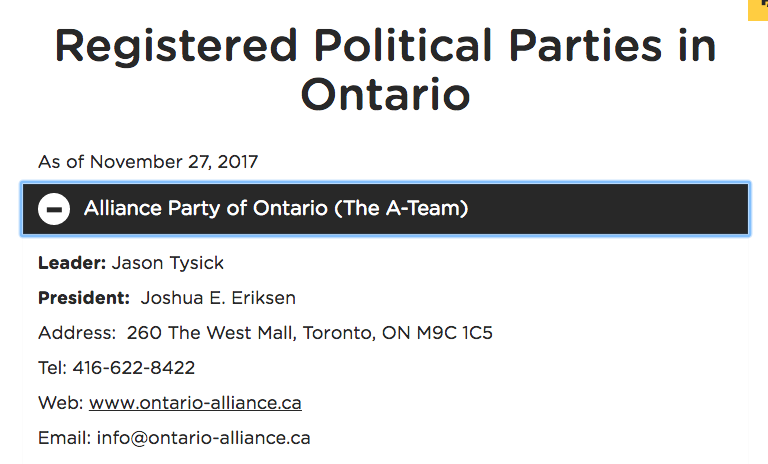 Ontario Alliance Party, a.k.a. the 'A-Team,' registers as a political party