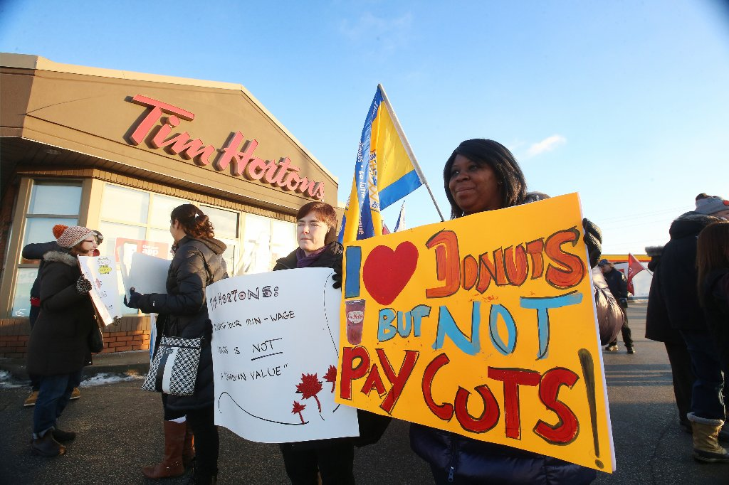 Demonstrators descend on Tim Hortons locations across the province