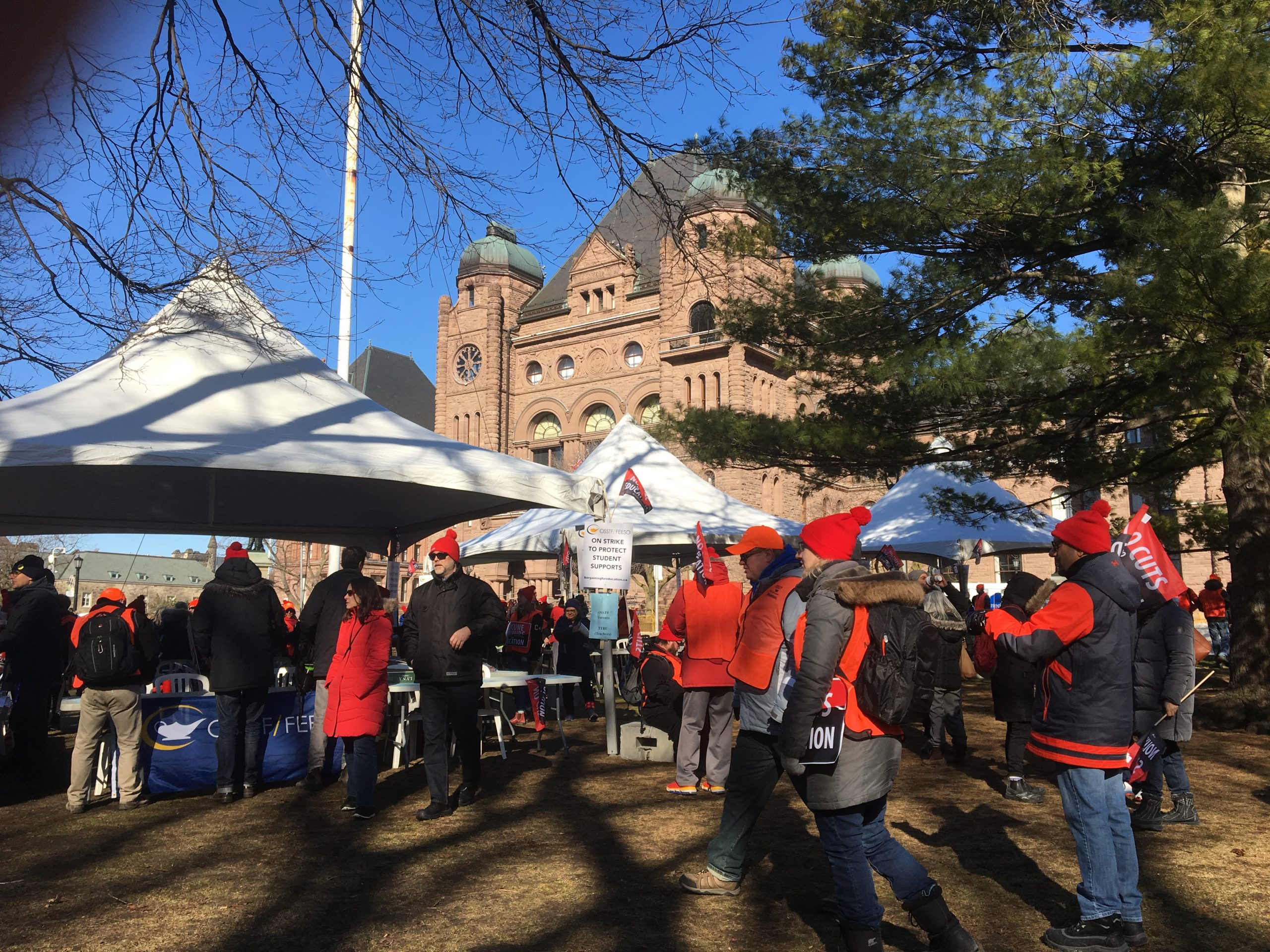 Educators protest at Queen's Park as three unions hold walkouts