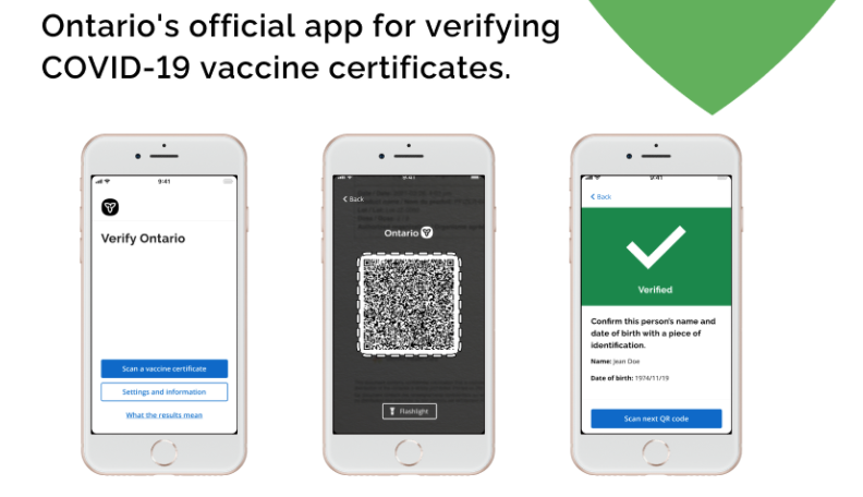 Ontario rolls out vaccine QR codes and certification app for businesses