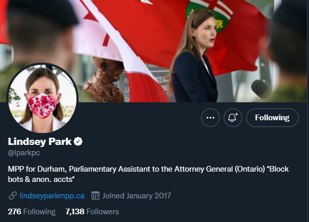 Lindsey Park still listed as parliamentary assistant despite being stripped of role weeks ago